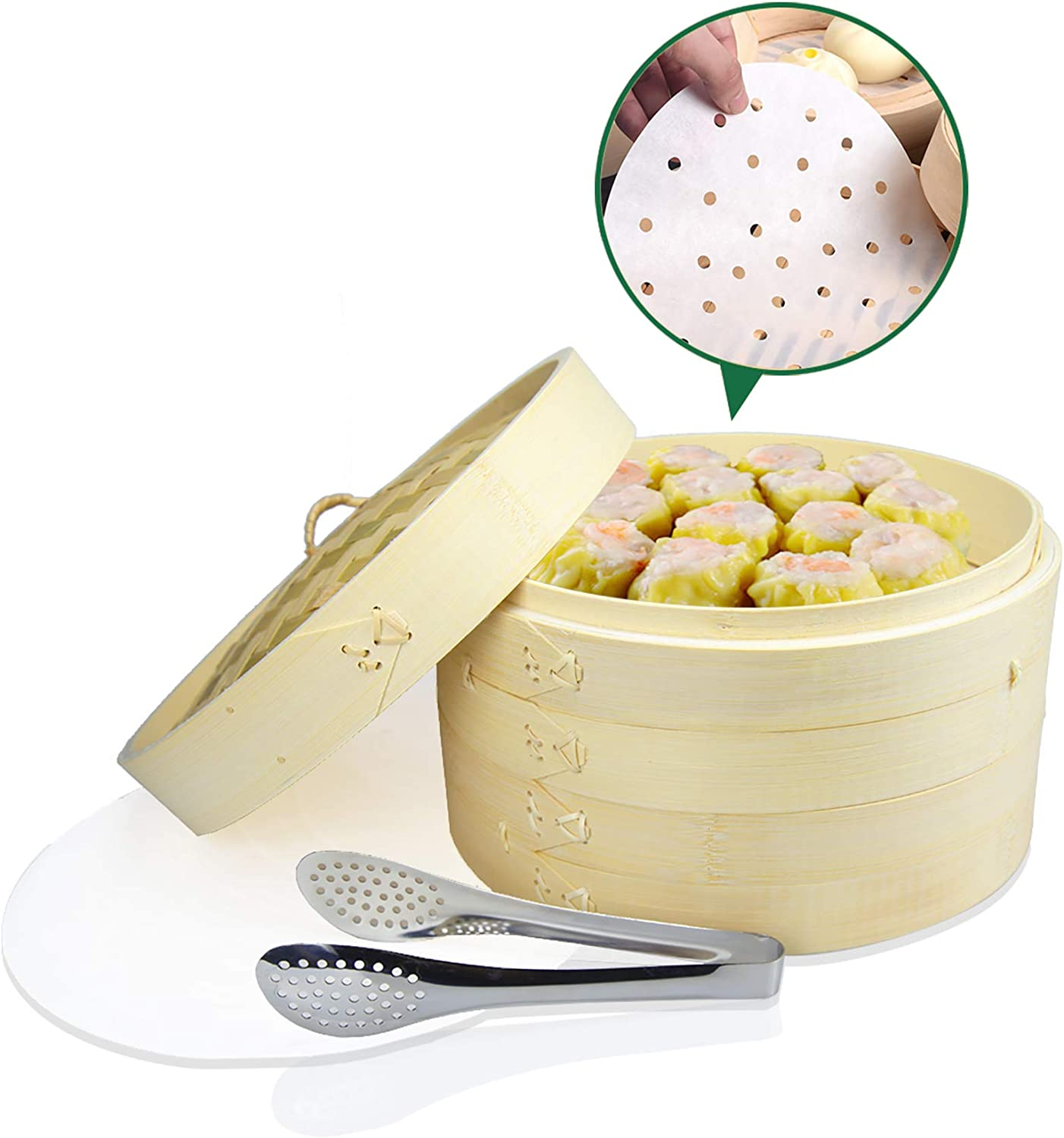 Bamboo Steamer Basket 10 Inch, DUU Dumpling Steamer with Lid, 2 Tier Food Steamer, Natural Bamboo Steamer for Cooking, Dim Sum, Steamed bread, Contains Food Tong & 20 Wax Steamer Liners