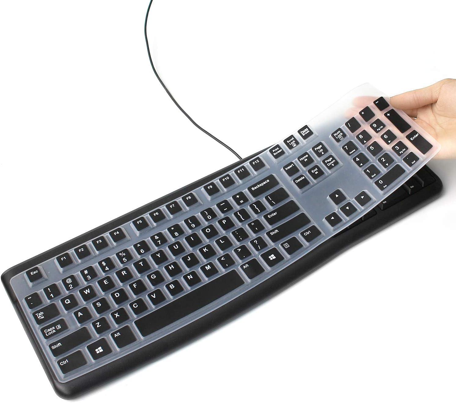 Funda de silicona para teclado Logitech K120 y MK120 ergonómico de escritorio con cable USB, funda protectora ultrafina para Logitech MK120 K120, ...