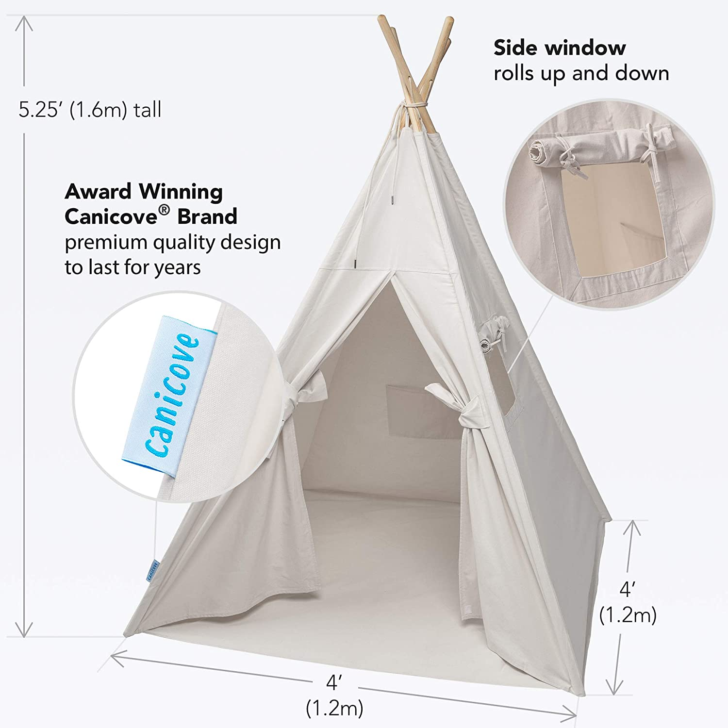 Free Fun Flags! Award Winning 100/% Cotton Play Tent Large Indoor//Outdoor Tipi for Boys /& Girls Canicove Teepee Tent for Kids
