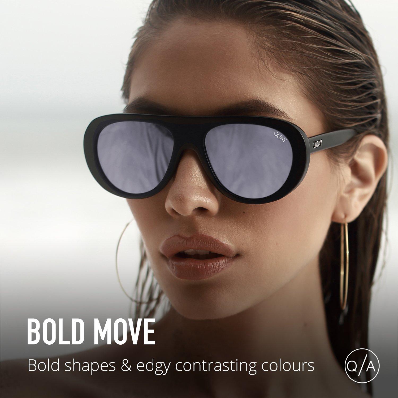 67427d07c9 Amazon.com  Quay Australia BOLD MOVE Women s Sunglasses Shield Aviator  Sunnies - Black Purple   Clothing