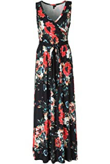 e377facfa916 Zattcas Womens Bohemian Printed Wrap Bodice Sleeveless Crossover Maxi Dress