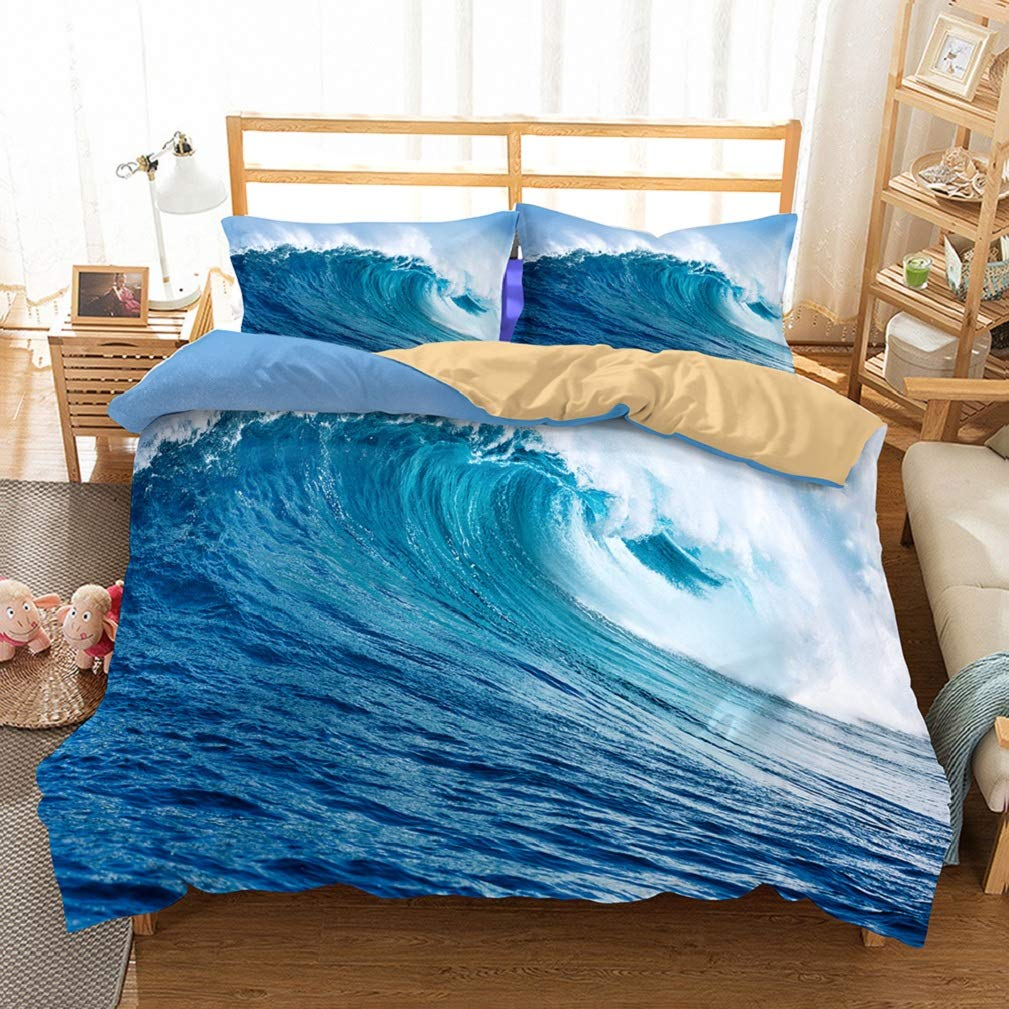 APJJQ Christmas Holiday Duvet Cover Sets Twin 3D Tropical Beach White Waves Surfing Blue Ocean Bedding Set for Adults Kids Boys Girls 100% Microfiber 3 Pieces 2 Pillow Sham