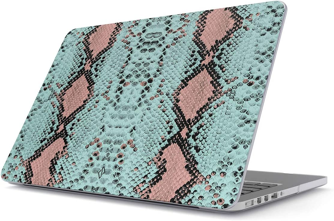 BURGA Hard Case Cover Compatible with MacBook Air 13 inch Case Release 2018-2019, Model: A1932 / A2179 with Retina Display and Touch ID Mint Green Blue Pink Snake Skin Pattern Serpent Savage Wild