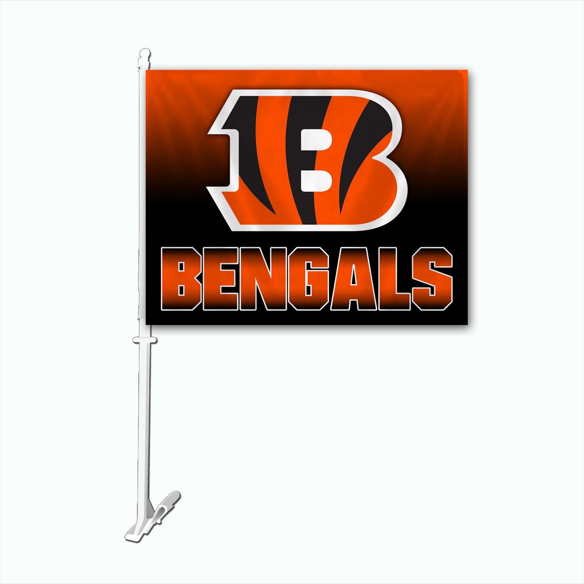 NFL Cincinnati Bengals Car Flag with Wall Bracket, Team Color