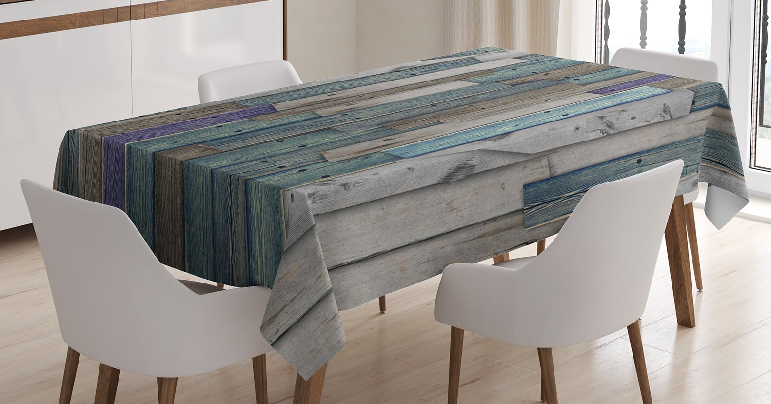 Ambesonne Wooden Tablecloth, Blue Grey Grunge Rustic Planks Barn House Wood and Nails Lodge Hardwood Graphic Print, Dining Room Kitchen Rectangular Table Cover, 52 X 70 inches