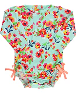 Baby Toddler Girls Upf 50 Sun Protection Long Sleeve One Piece Swimsuit Zipper
