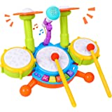 Rabing Kids Drum Set, Electric Musical Instruments Toys with 2 Drum Sticks, Beats Flash Light and Adjustable Microphone, Birt