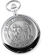 Great Grandson Christening St Christopher Pewter Feature Pocket Watch, Gift From Great Grandparents