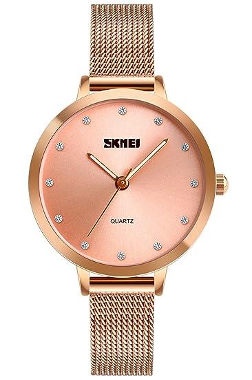 Reloj de pulsera para mujer, de oro rosa, casual, resistente al agua,