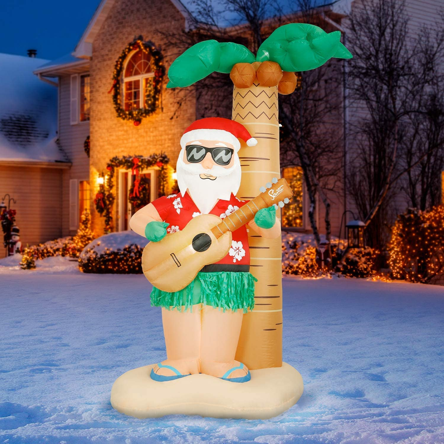 Holidayana Hula Santa Christmas Inflatable - 8 ft Tall Hula Santa on Beach Christmas Inflatable Outdoor Yard Decoration with LED Lights, Fan, and Stakes
