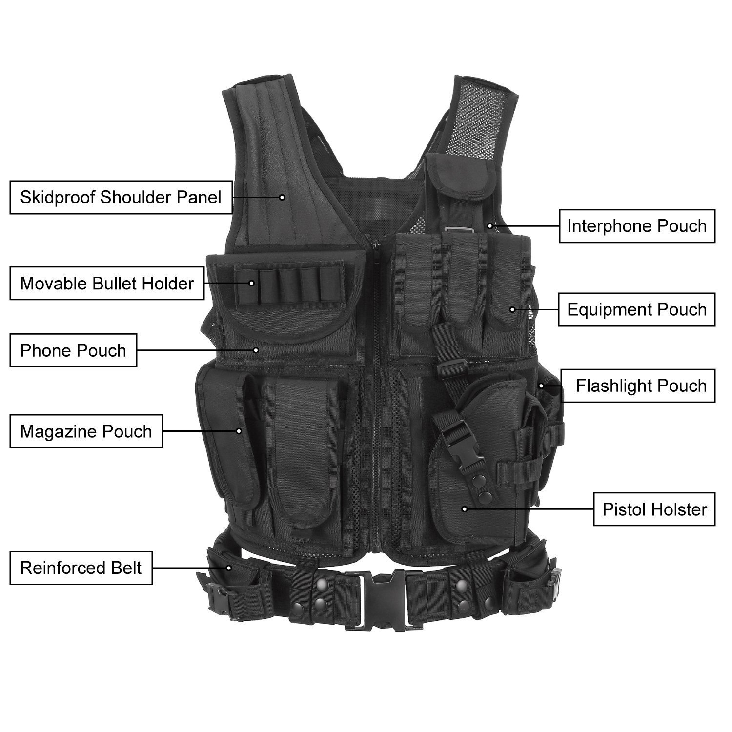 Vemico Tactical Vest Multifunctional Outdoor airsoft tactical vest Ultra-light Breathable Vest for Special Mission Combat Training Field Operations and Military Fans tactical vest adult black