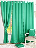 Story@Home Premium Blackout Eyelet 2 Piece Faux Silk Ring top Window Curtain-5 feet, Teal