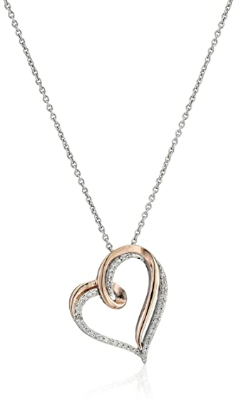 Amazon 14k rose gold over sterling silver diamond heart pendant 14k rose gold over sterling silver diamond heart pendant necklace 110 cttw mozeypictures Images