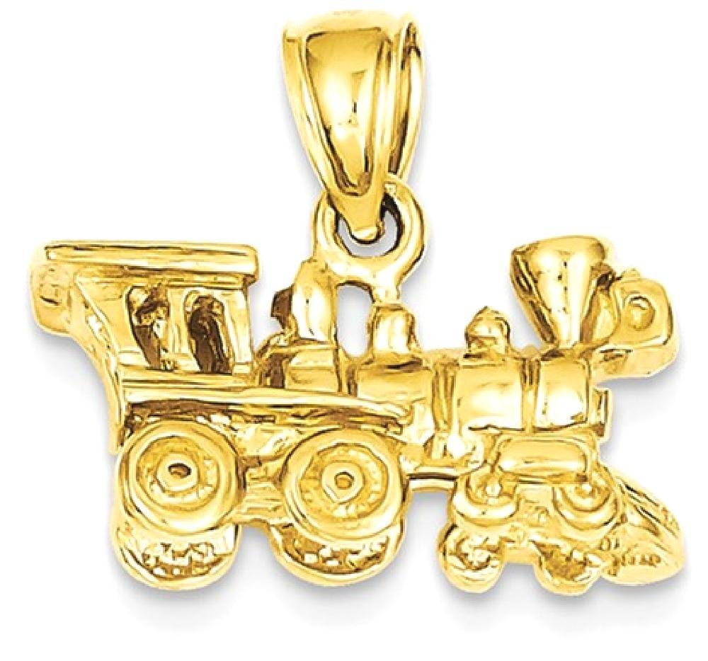 ICE CARATS 14k Yellow Gold 3 D Locomotive Pendant Charm Necklace Travel Transportation Fine Jewelry Gift Set For Women Heart