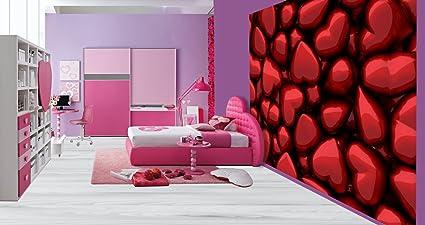 Beautiful 3d Red Metallic Hearts Girls Bedroom Wallpaper Wall Mural