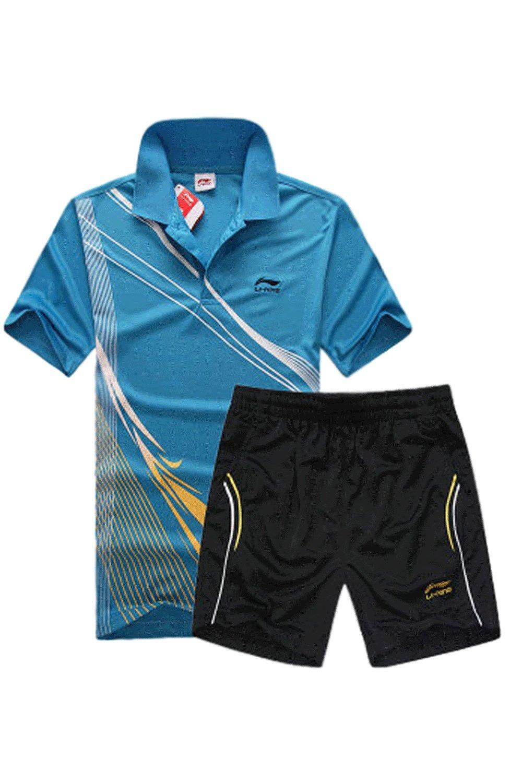 Unomatch Boys Tennis Clothing Short Sleeve T-Shirt with Raid Shorts (XX-Large, Blue)