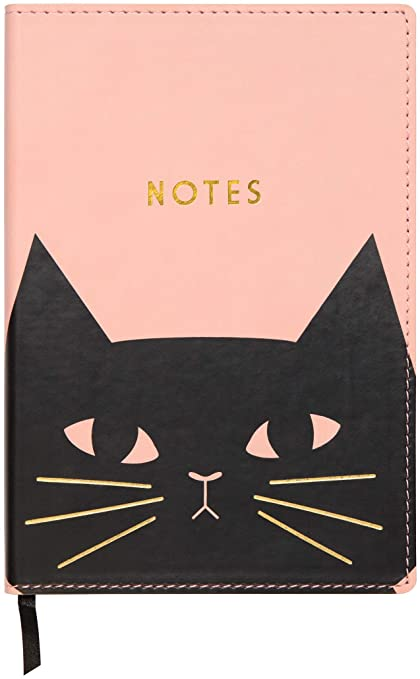 """C.R. Gibson Pink Black Cat Leatherette Journal Notebook, 160 Pages, 5.5"""""""