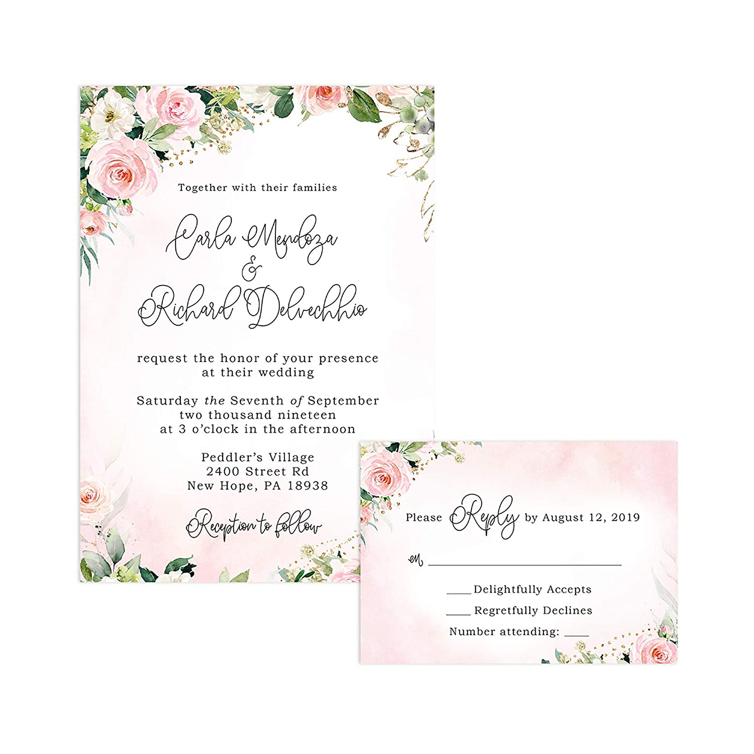 Amazon Com Pink Floral Wedding Invitations And Self Mailing