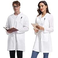 Abollria Camici da Laboratorio Chimica Unisex Bianca Camicia Lunga per Uomo e Donna Cappotto Sanitari per Studenti di Scuola, per Ospedale e Medico