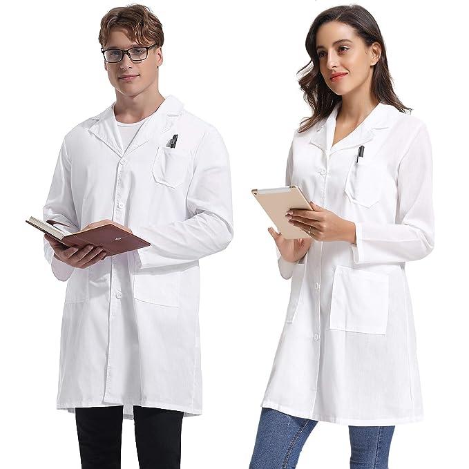Abollria Batas de Laboratorio Manca Larga Unisex Largo Abrigo Blanco para Doctor, Escuela, Hospital: Amazon.es: Ropa y accesorios