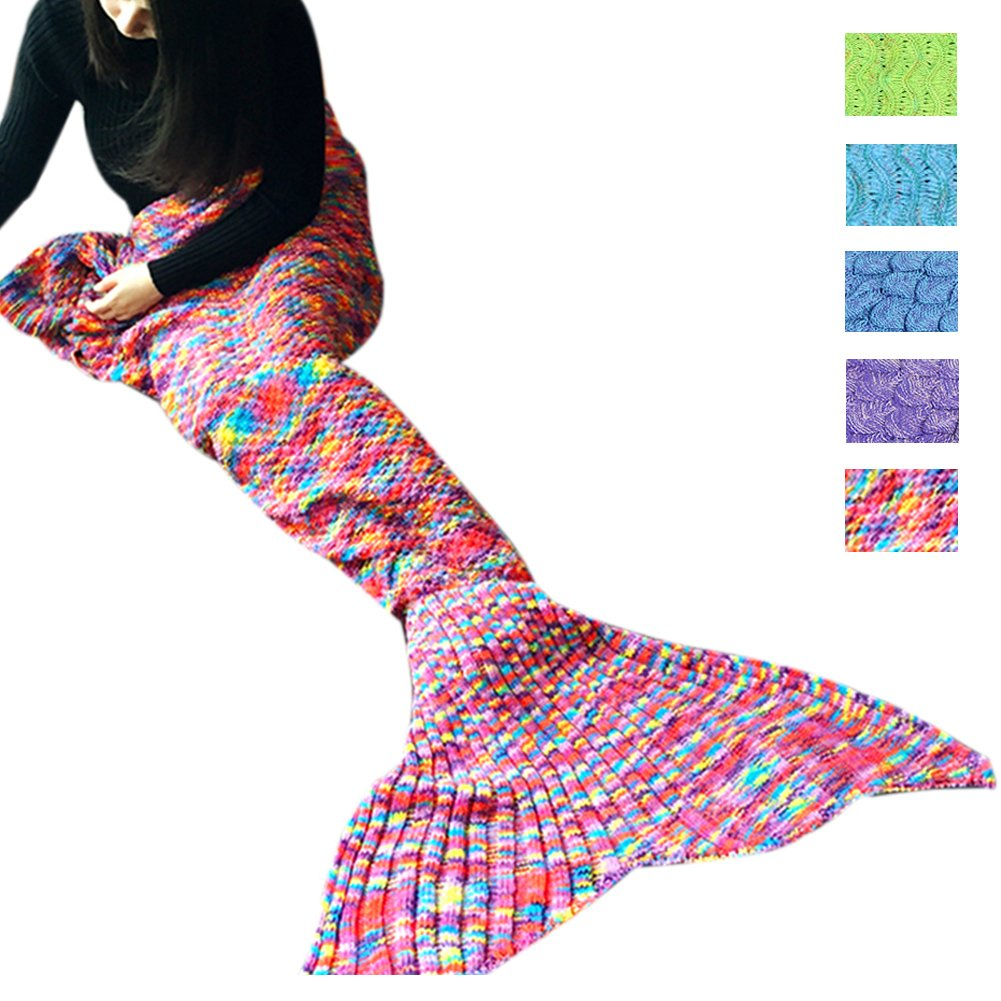 Awkli Warm Mermaid Tail Blanket Crochet Super Soft Comfortable Suitable for All Seasons Sofa Blankets Gift for Christmas, Halloween, Thanks Giving Day, Valentine\'s (Colorful)