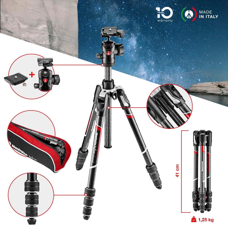 Nikon Nero per Canon Mirrorless Manfrotto MKBFRTC4-BH Befree Advanced Treppiede da Viaggio CSC Portata fino a 8 kg Carbonio Testa a Sfera Chiusura Twist M-Lock DSLR Sony Borsa Inclusa