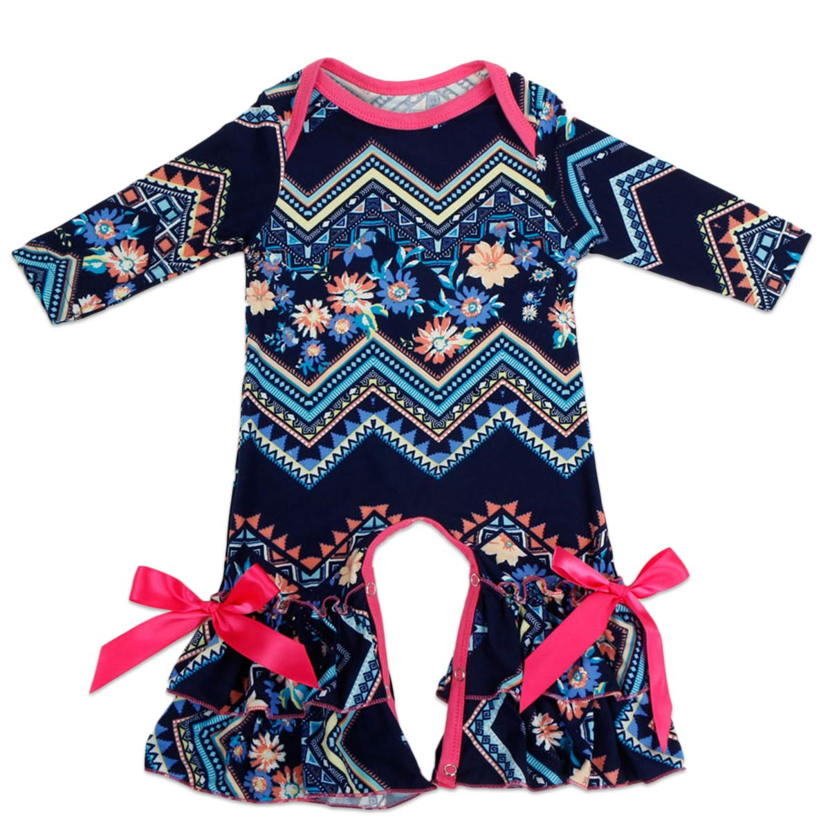 37b3b5f35b3 Amazon.com  FYMNSI Baby Girls Icing Ruffle Romper Floral Jumpsuit Long  Sleeve Pajamas Homewear Birthday Xmas Party Outfits  Clothing