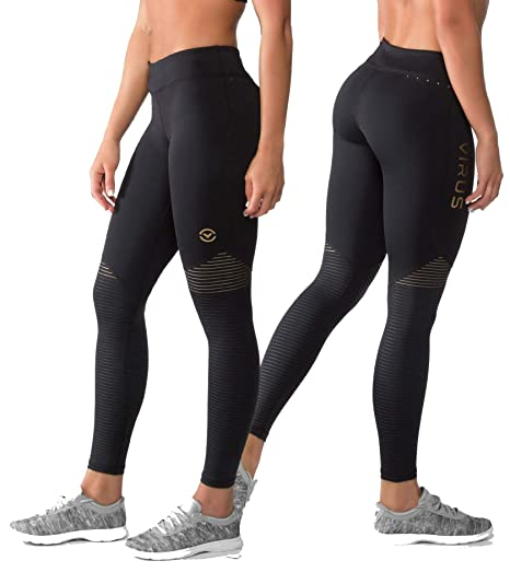6e42ad4eaa517 Amazon.com: Virus EAU7X BIOCERAMIC Womens Compression Pants (Black ...