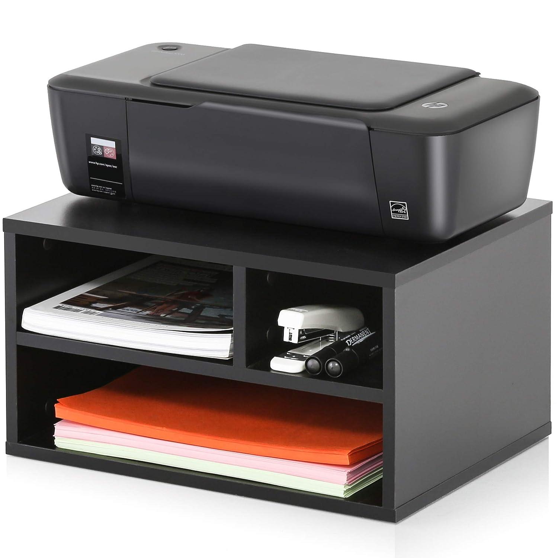 FITUEYES 2 livelli Legno Supporti per Stampante Organizzatore Della Scrivania Nero DO204701WB