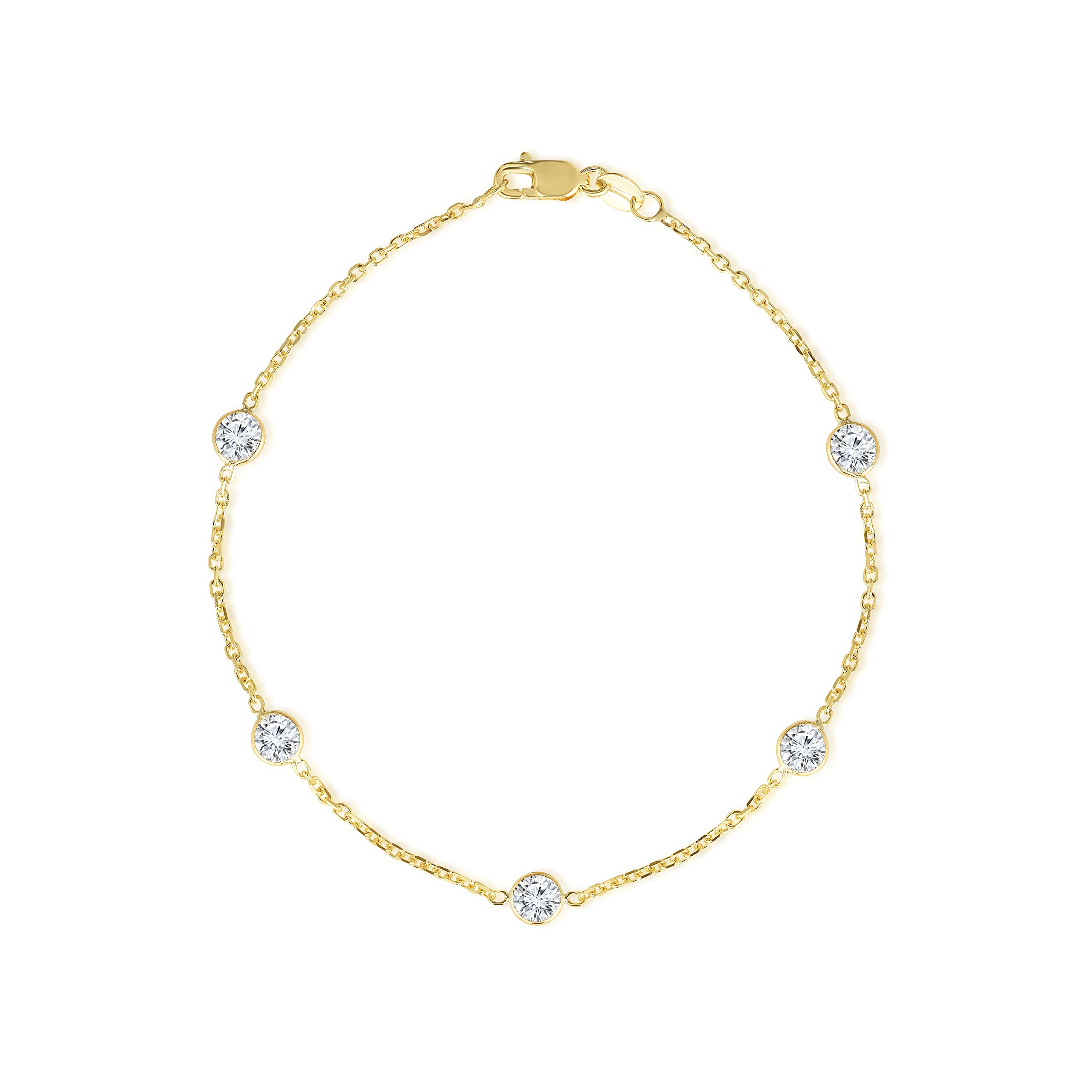 14k Yellow Gold Cubic Zirconia Cable Anklet, Round 4mm CZ, 9 inch
