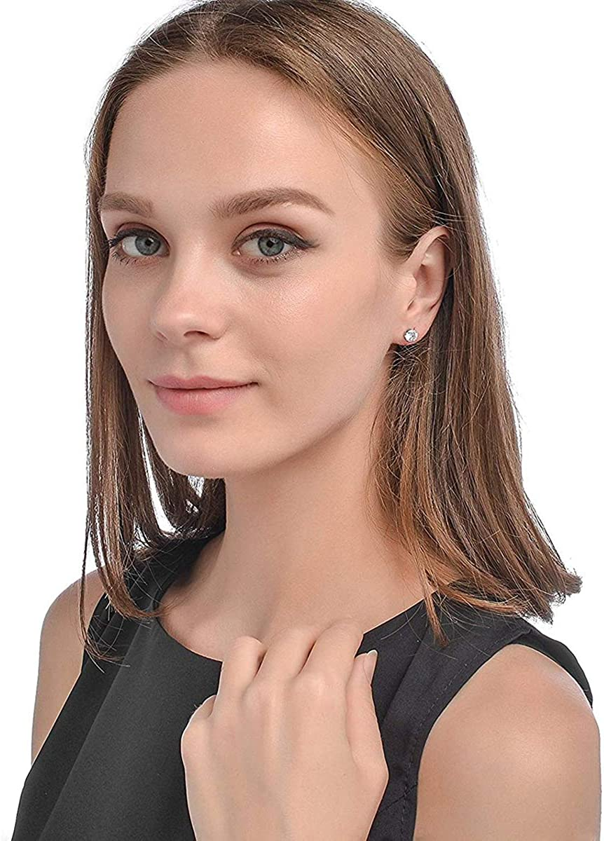 Sailimue 4-6 Pairs Stainless Steel Stud Earrings for Men Women Round CZ Earrings,Black and White 3-8mm