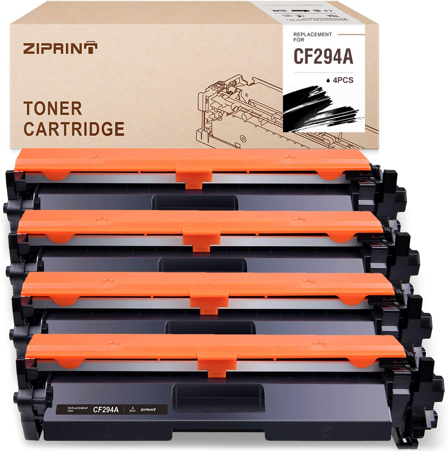 ZIPRINT Compatible Toner Cartridge Replacement for HP 94A 94X CF294A for use with HP Laserjet Pro M118dw MFP M148dw MFP M148fdw Printer(Black, 4-Pack)