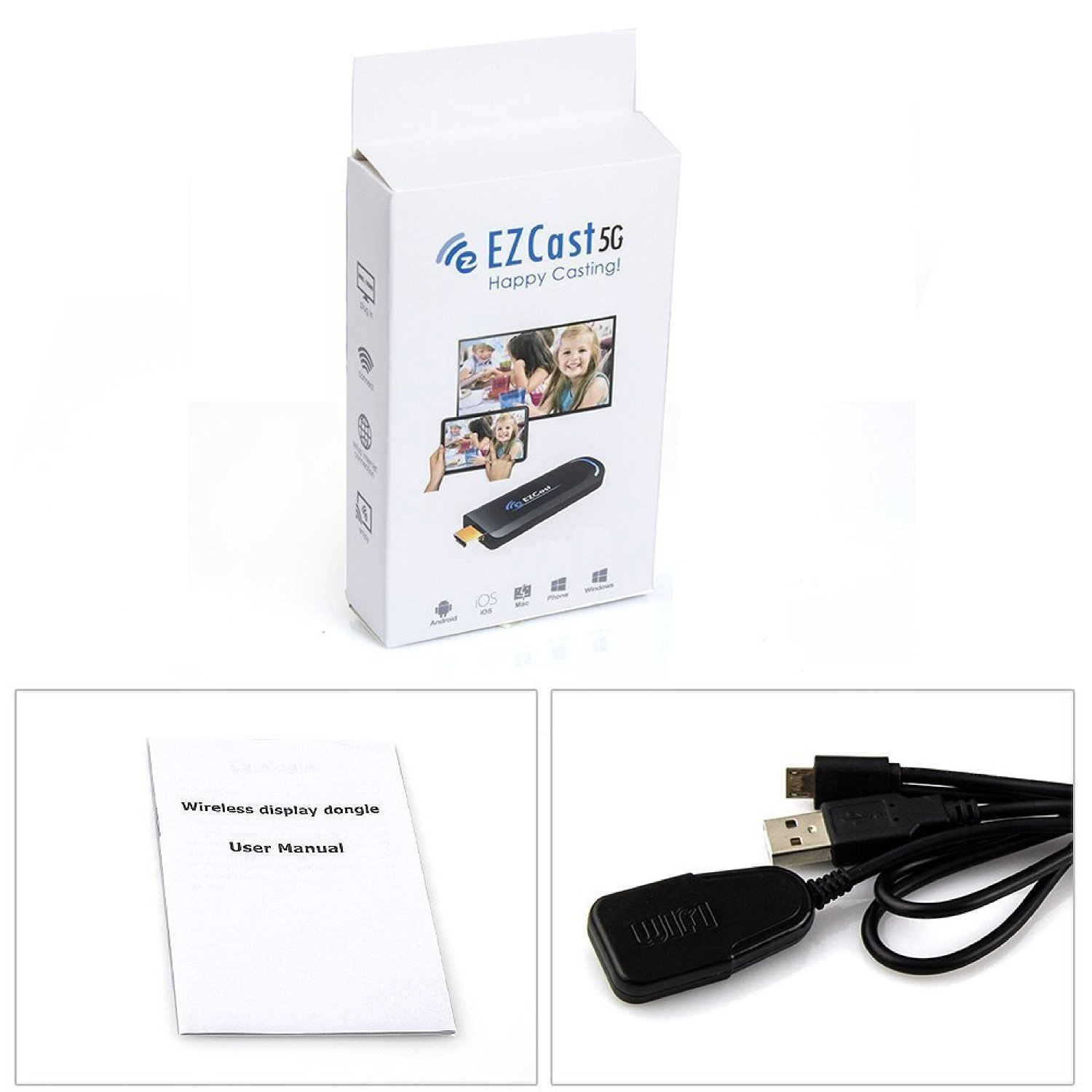 Ezcast 5g Tv Dongle 1080p Miracast Dlna Airplay Wifi Anycast Display Receiver Wireless Hd Mirroring High Speed Hdmi Supports Compatible With Ios Android