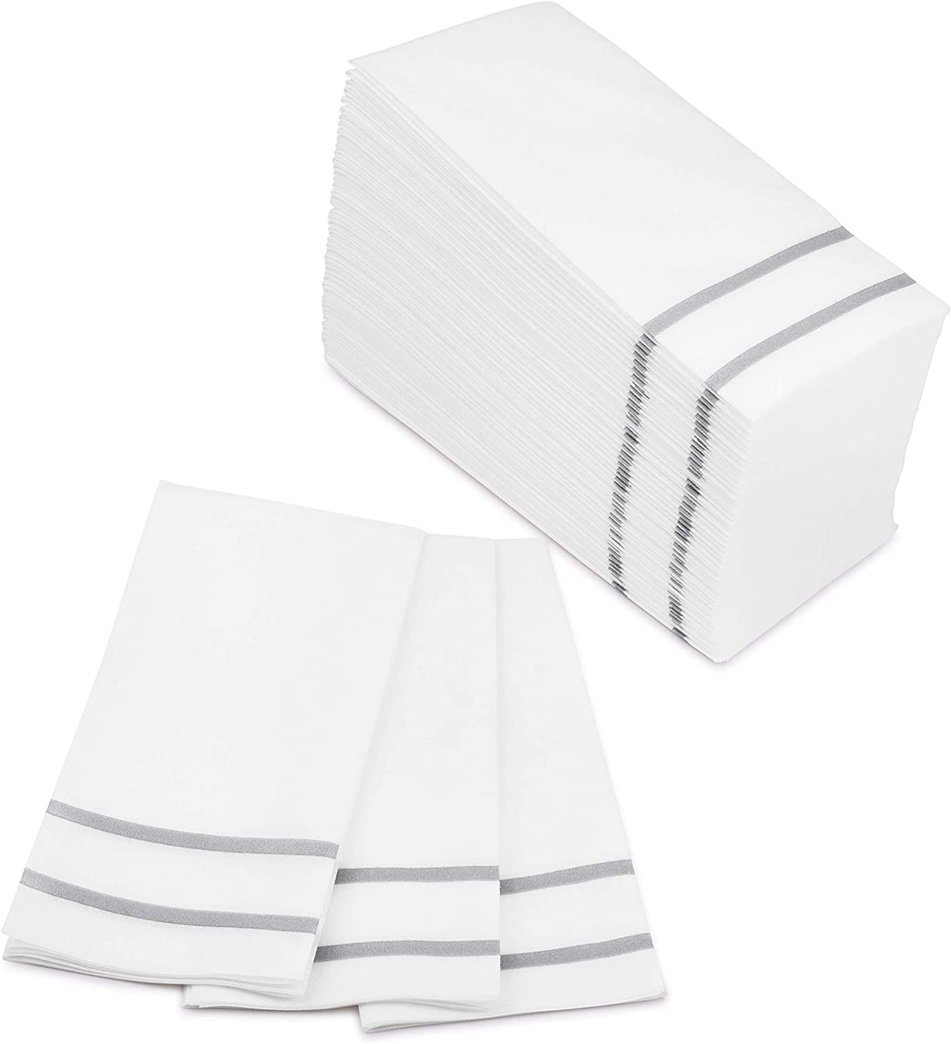 Fete Decorative Hand Towels Disposable, Silver Design 100 Linen-Feel Guest Towels – Formal Dinner, Anniversary, and Wedding Napkins for Tables, Guestrooms, and Restrooms - 8.5x 4-Inches Folded,