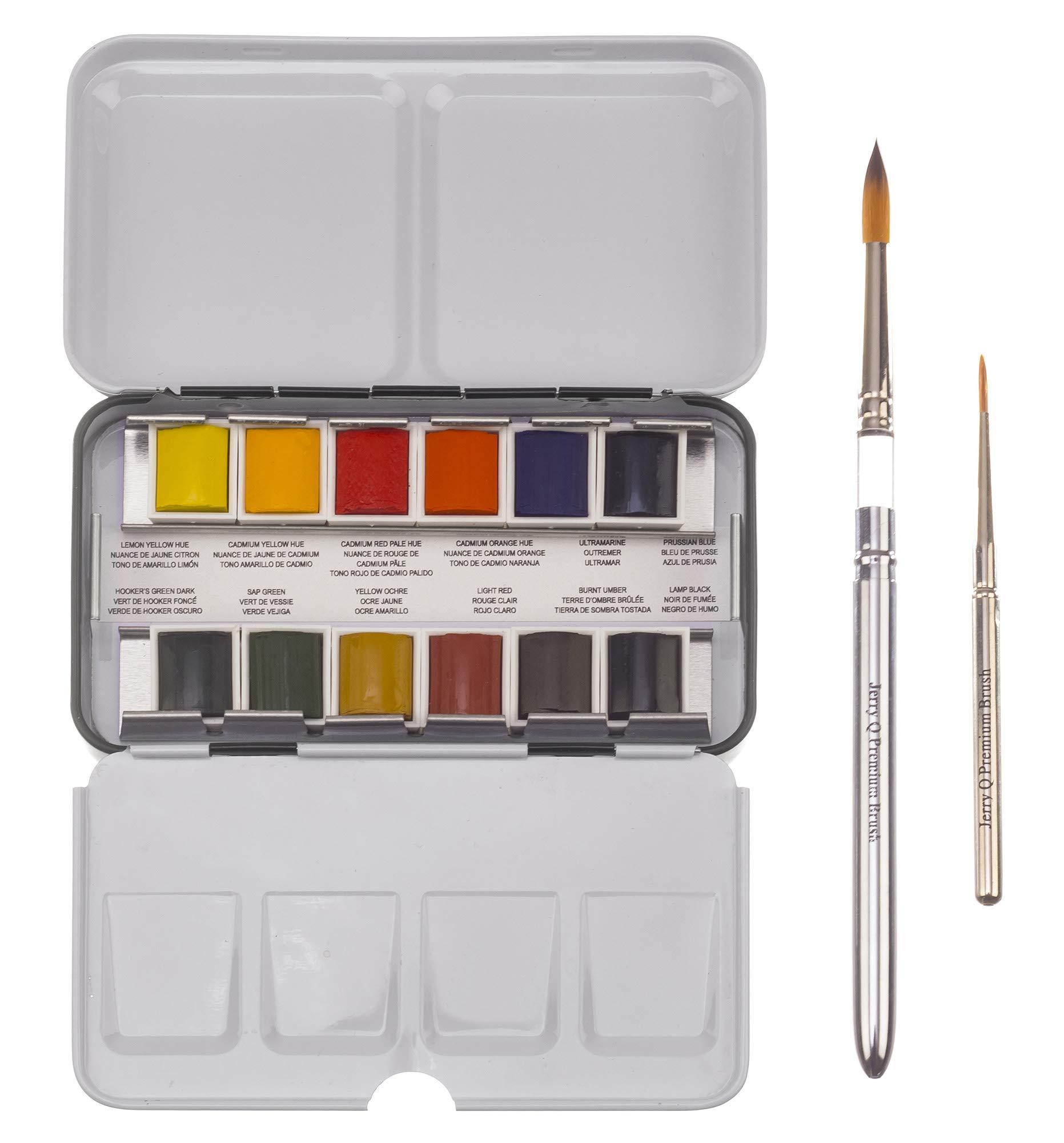 Jerry Q Art 12 Assorted Artist Grade Premium Water Colour Travel Pocket Set with 2 Brushes, Half Pans-JQ 12 Professional