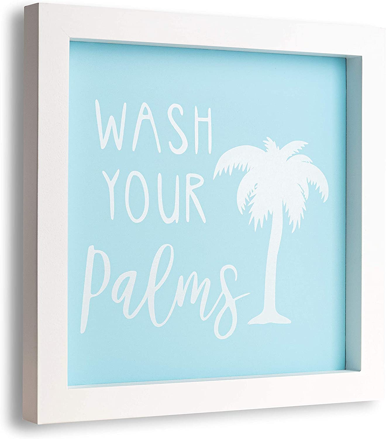TideAndTales Wash Your Palms Bathroom Wall Decor (Blue) Funny Bathroom Signs - Wooden and Framed Wash Your Hands Sign - Beach Bathroom Decor - Coastal Farmhouse Half Bath Restroom Decor