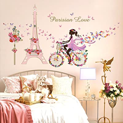 Wallpark Romantic Pink Eiffel Tower Fairy Girl on Flowers Butterflies Bicycle Removable Wall Sticker Decal, Children Kids Baby Home Room Nursery DIY Decorative Adhesive Art Wall Mural: Baby