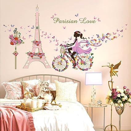 Wallpark Romantico Rosa Torre Eiffel Hada Nina En Flores Mariposas