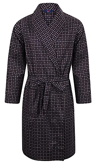 Somax Men s Luxury Lightweight Cotton Dressing Gown – Navy Diamond Pattern  (Medium) d315adea4efd