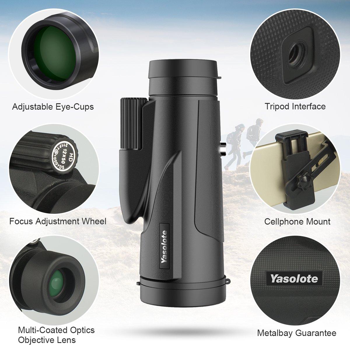 Yasolote Monocular Telescopio 12X50 HD con Prisma BAK4 Catalejo Impermeable para Tel/éfono M/óvil Dise/ño de Prismatico de un Solo Visor para Partido de F/útbol P/ájaros Turismo Caza y Navegaci/ón