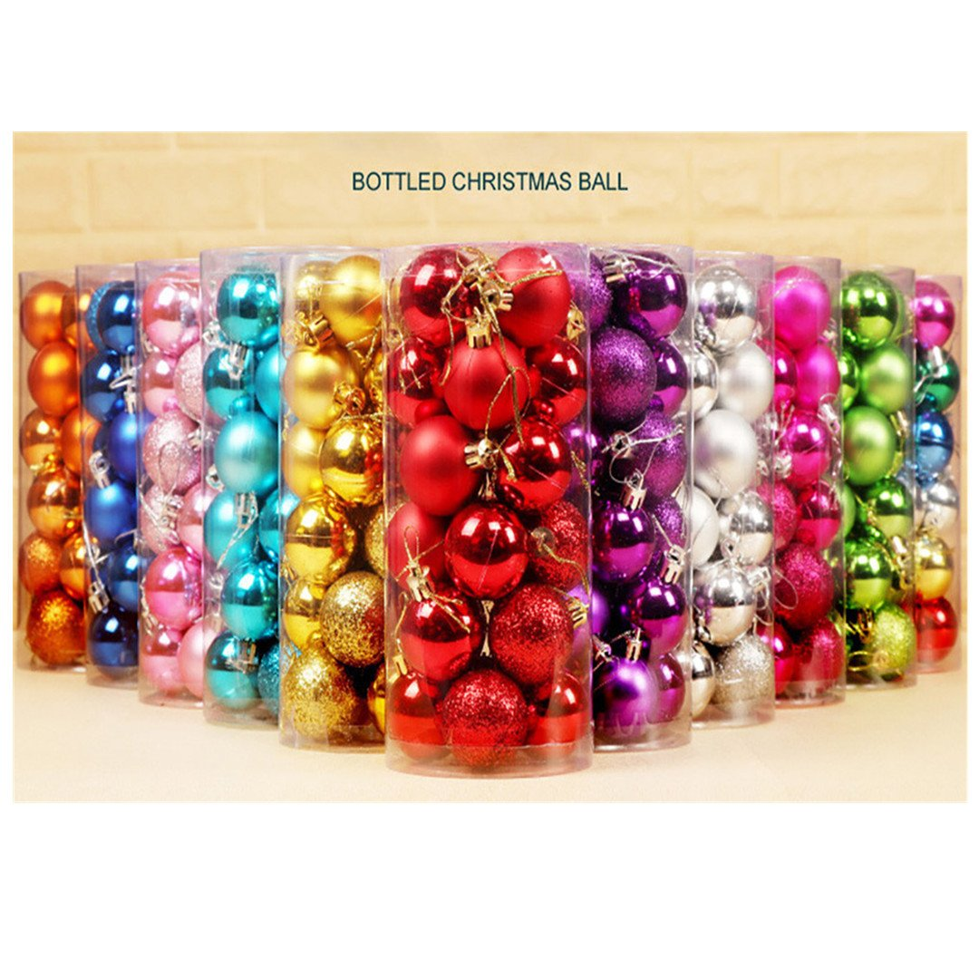 """Lavany® Christmas Tree Ornaments Balls Decorations Xmas Ball Decor for Festival Wedding Party 24PC 30mm-1.18"""" Inch (Red)"""