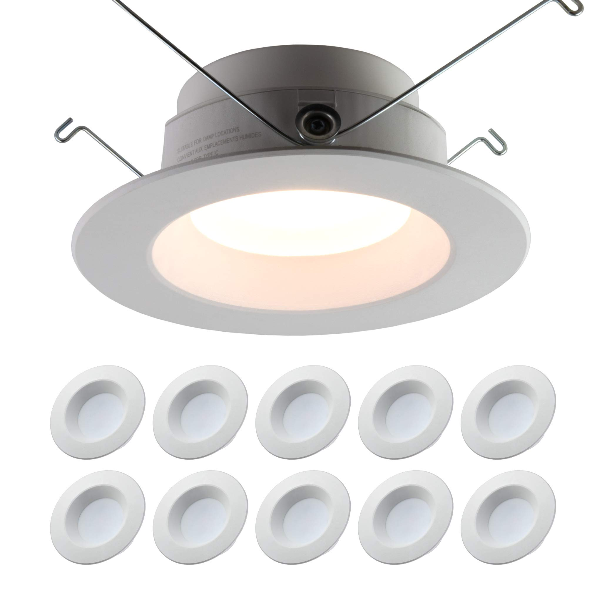 5/6'' inch Dimmable LED Downlight (10 PACK) 15W= 120W Replacement; 1100 Lumens; 120V; CRI>90; JA-8 Compliant, Energy Star, UL Listed; Easy Install Into Exisiting 5/6'' Recessed Can (Warm-White 3000K)