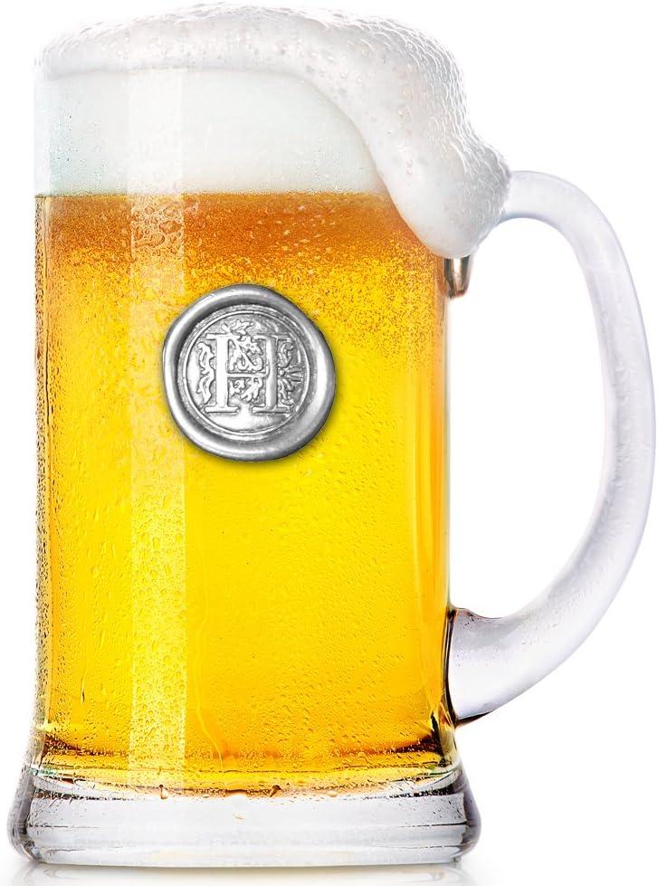 English Pewter Company - Jarra de cerveza con monograma de 1 pinta, regalo personalizado con su elección de inicial