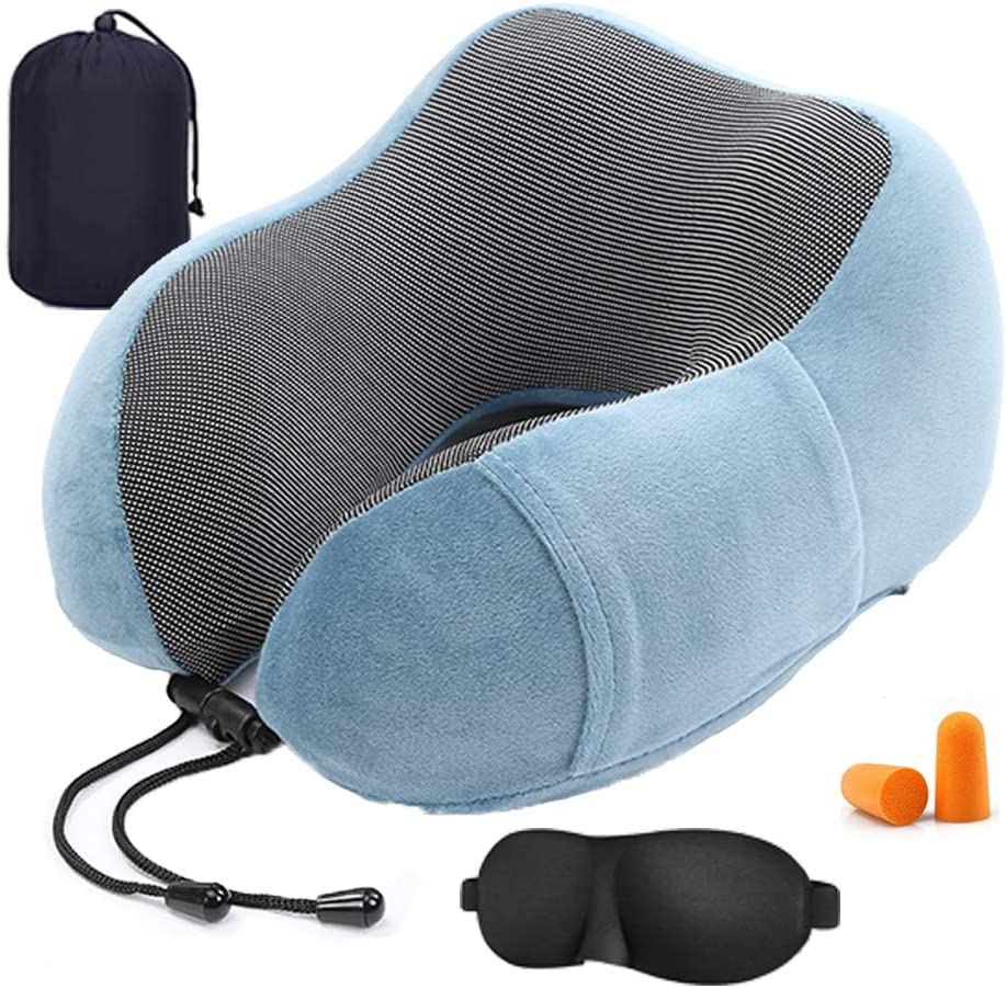 Travel Pillow Pure Memory Foam Neck Pillow, Ergonomically 360 Head & Neck Support Portable U-Shaped Head Cushion, for Airplane Car & Home Use (Grey)
