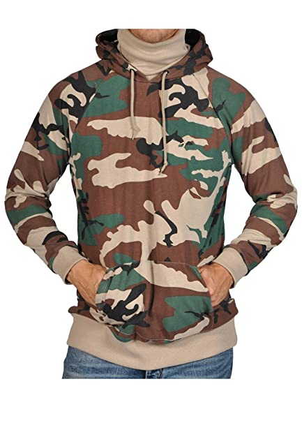 26608ddb ARSNL Mens Camoflauge Hooded Scarf Pullover Sweater - Olive Tradition (XS)