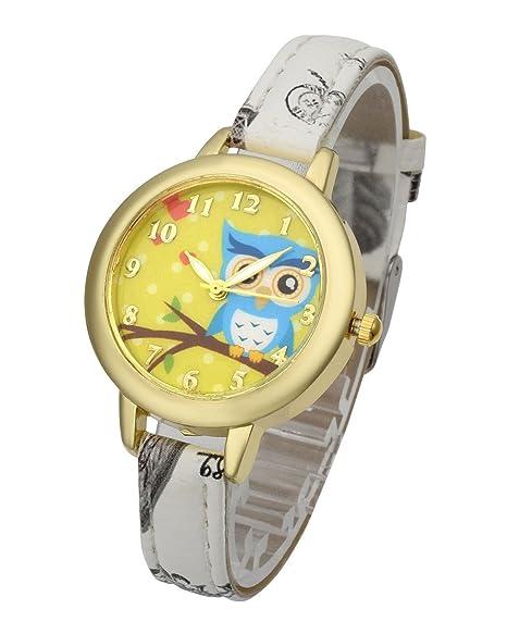 Top Plaza - Reloj de pulsera para mujer y niña, de cuarzo, analógico, con bonito diseño de búhos de dibujos animados, con carcasa dorada, diseño de flores y ...