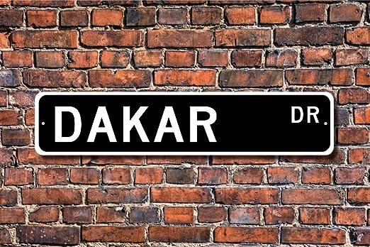 Home Decor Sign Dakar Cadeau Sign Dakar Visiteur Souvenir natif du S/én/égal Afrique de lOuest City Plaque en M/étal pour Un Usage ext/érieur//int/érieur Street