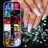 Butterfly Nail Art Sequins Acrylic Paillettes Butterfly for Nails Glitter Design Holographic Nail Sparkle Flakes Butterflies Nail Decals Stickers Set Manicure Designs Nail Art Tips Charms 12 Boxes