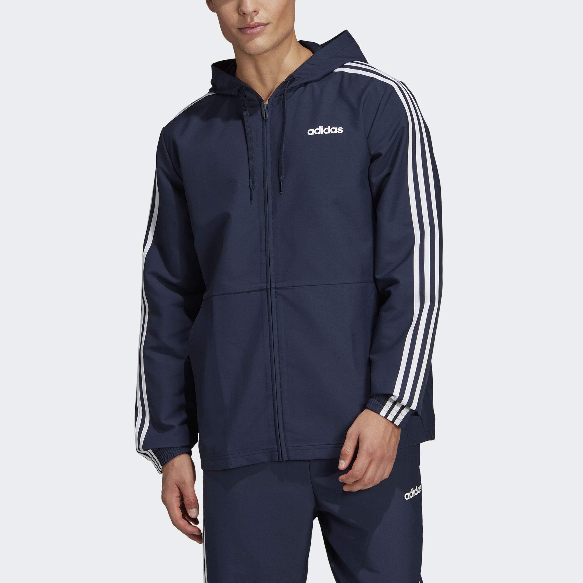 adidas Essentials Men's 3-Stripes Windbreaker, Legend Ink/White, XX-Large by adidas