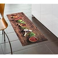 Küchenläufer / Küchenmatte / Dekoläufer für Küche und Bar / Teppich / Läüfer / Läufer / waschbare Küchenläufer / Küchendeko Modell Gewürze - Chilli - Knoblauch - Holz Optik - Größe ca. 50 x 150 cm